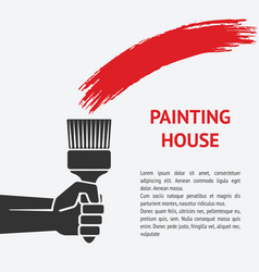 Hand with brush painting house concept vector