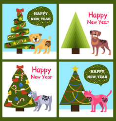 Happy new year posters set christmas trees puppies vector