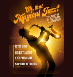 Isolated jazz poster silhouette of saxophone vector