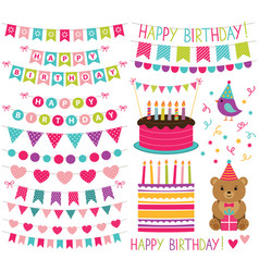 Kid birthday party set vector