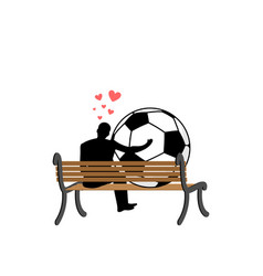 Lover soccer guy and football ball sitting on vector