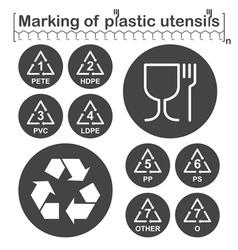 Marking of plastic utensils icons set vector