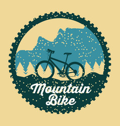 mountain bike grunge badge fun sport vector image