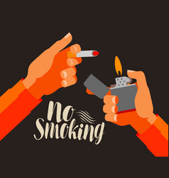 No smoking banner nicotine cigarette tobacco vector