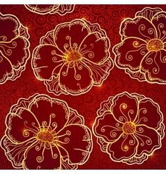 Ornate vinous flowers seamless pattern vector image vector image