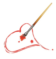 Paintbrush and Red Heart3 vector image