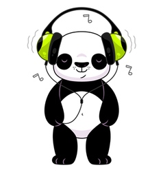 Panda in headphones vector image