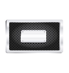 rectangle frame metallic with grill perforated and vector image vector image