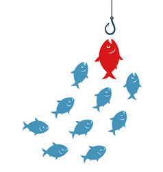 red fish going to hook vector image