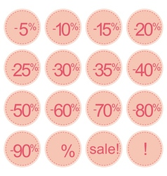 Retro pink sale icons vector image