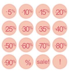 Retro pink sale icons vector image
