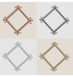 Set for metal frame brushed golden silver metal an vector