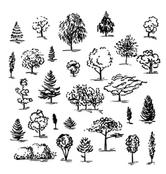 Set of hand drawn of trees ink style vector