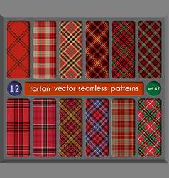 Set tartan seamless pattern background vector