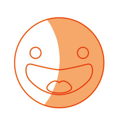 Silhouette happy face emoji icon vector