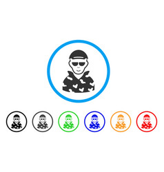 Swat soldier rounded icon vector