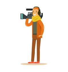 tv videographer with camera and headphones vector image vector image