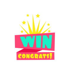Win congratulations sticker design template for vector