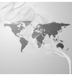 world map on the gray smoke background vector image