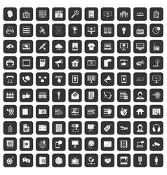 100 information technology icons set black vector