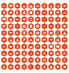 100 yoga icons hexagon orange vector