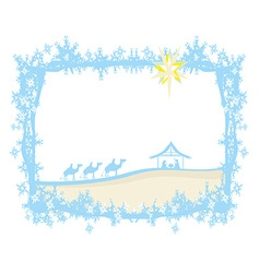 Birth of jesus in bethlehem - abstract frame vector