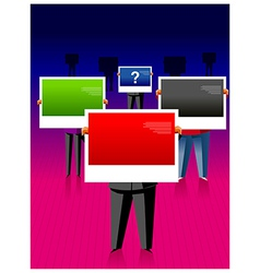 Business people holding bilboards vector