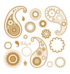 Oriental paisley elements set collection of vector