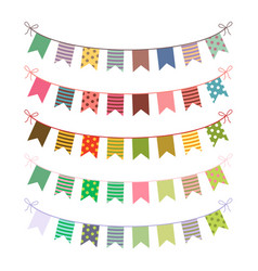 Festive buntings with colorful flags vector
