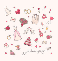 Wedding simple objects collection vector