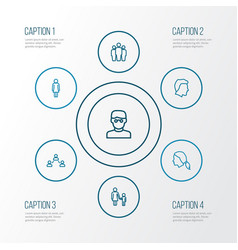 Person outline icons set collection of female vector