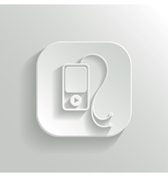 Mp3 player icon - white app button vector