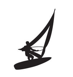 Silhouette of a windsurfer on a board for windsurf vector