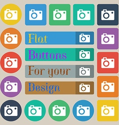 Camera icon sign set of twenty colored flat round vector
