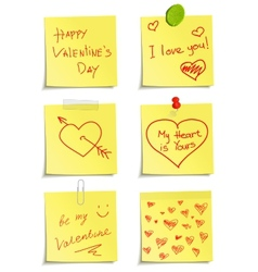 Set of notes to valentine day vector