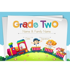 Diploma template for grade two vector