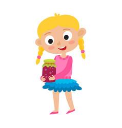 adorable little blonde girl vector image