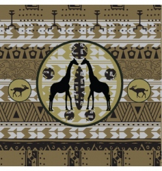 African background with grunge frame vector image vector image
