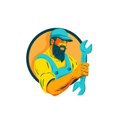 Bearded mechanic holding spanner circle wpa vector