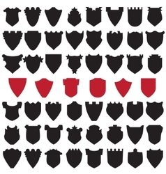 Black and red shields vector