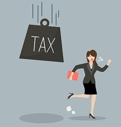 Business woman run away from heavy tax vector