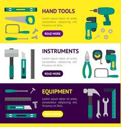 cartoon hand tools banner horizontal set vector image vector image
