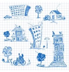 City doodle set vector