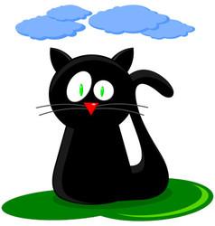 Cute Black Cat Cartoon vector image vector image