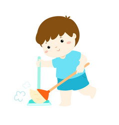 cute boy sweeping the dust on a white background vector image