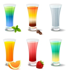 Different cocktails and juices on white vector image vector image