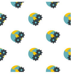 Earth and gears pattern flat vector