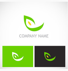 eco abstract green leaf logo vector image vector image