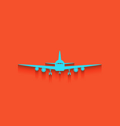 Flying plane sign front view whitish vector