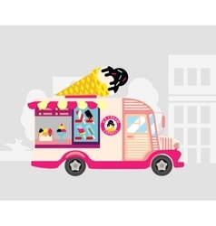 Ice cream car mobile shop vector